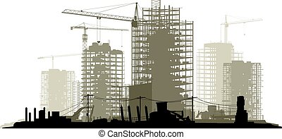 Line illustration of construction site with crane and building.