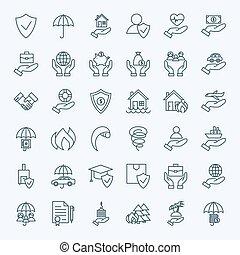 Line Insurance Service Icons Set