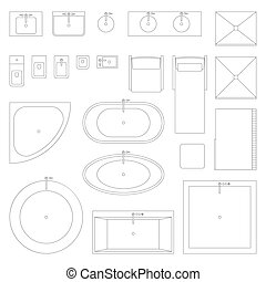 Line interior icons for bathroom.