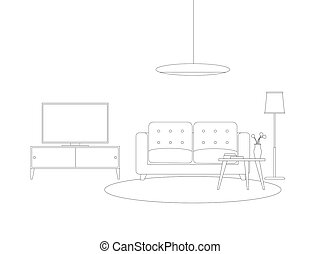 Line interior of living room with furniture