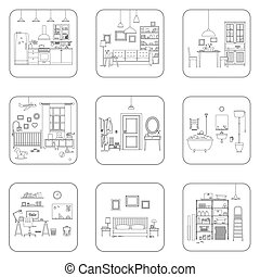 Set of line interior rooms. Thin illustrations of bathroom, living room, kitchen, etc.