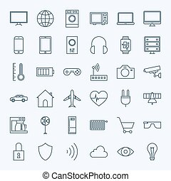 Line Internet of Things Icons Set. Vector Set of 36...