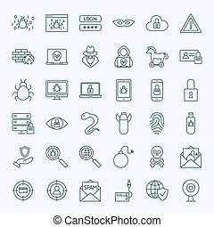 Line Internet Security Icons. Vector Set of Outline Cyber...