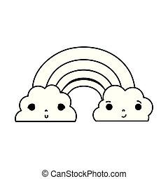 line kawaii cute rainbow and clouds weather