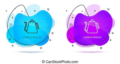 Line Kettle with handle icon isolated on white background. Teapot icon. Abstract banner with liquid shapes. Vector Illustration