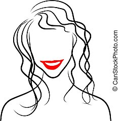 Line Lady - simple line drawing of a womans head