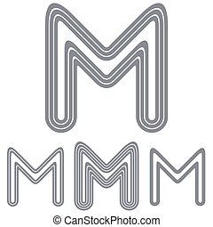 Line letter m logo design set