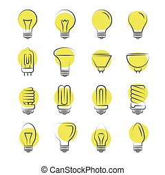 Line light bulbs icons on white background