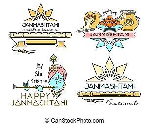 Line logo icons set for Krishna Janmashtami