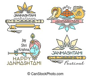 Line logo icons set for Krishna Janmashtami