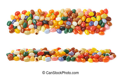Line made of jelly beans isolated