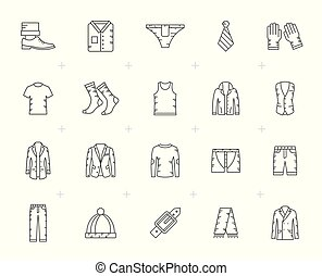 Line man clothing icons