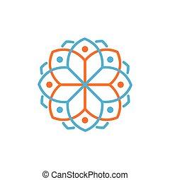 Line mandala Floral circle logo vector element. floral logo template