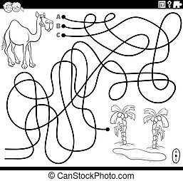 line maze with cartoon camel and oasis coloring book page