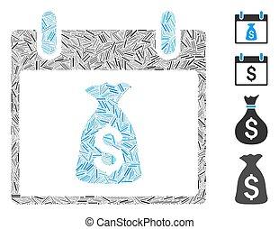 Line Money Bag Calendar Day Icon Vector Mosaic