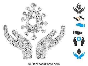 Line Mosaic Biotechnology Care Hands Icon