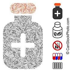 Line Mosaic Medication Vial Icon
