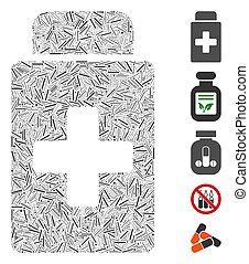 Line Mosaic Treatment Vial Icon