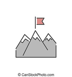 Line mountains with flag icon vector.