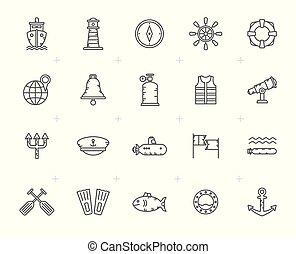 Line Navy, Marine, Sailing and Sea Icons