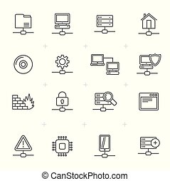 Line Network, Server and Hosting Icons