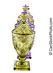 Line of Amber and Purple Jars