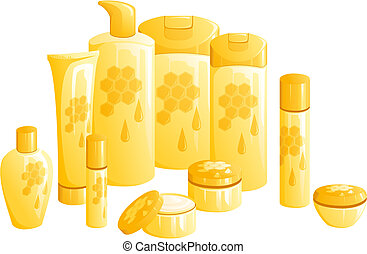 Line of beauty products, with a golden honey design