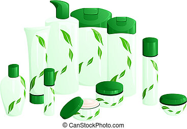 Line of beauty products, with a green leaf design