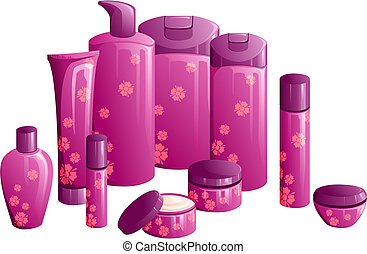 Line of beauty products, with a purple flower design - Set...