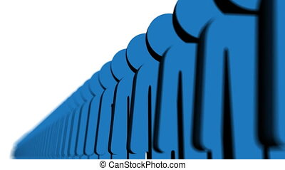 Line of blue people - Human Resources - Queue - Worker - Full HD