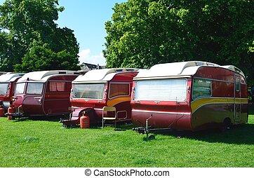 Line of caravans in red
