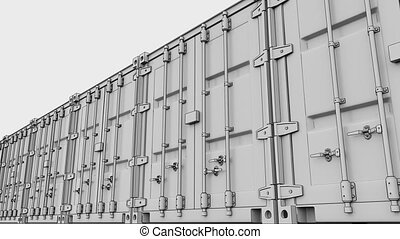 Line of cargo containers. 4K seamless loop sketchy animation, ProRes