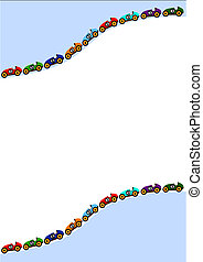 line of cars in the top and bottom