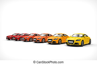 Line Of Cars Warm Colors