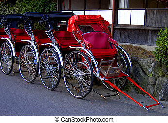 Some chariots in a touristic area of Kyoto city, Japan