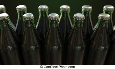 Line of closed green bottles with beer or mineral water,...