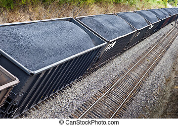Line of Coal Cars On Train track - Line of Coal Freight Cars...