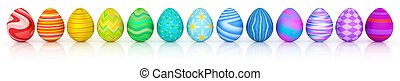Line of colorful Easter eggs isolated on white
