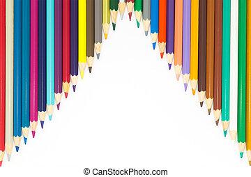 Line of colour wooden pencils