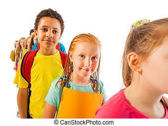 Line of diverse kids in isolated on white