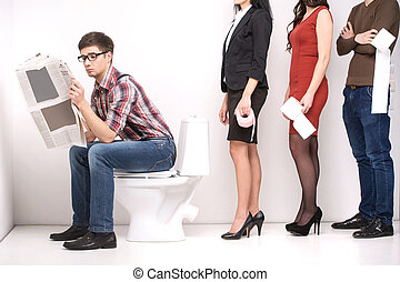 line of diverse people standing in queue in profile isolated on white. man sitting in toilet and reading newspaper