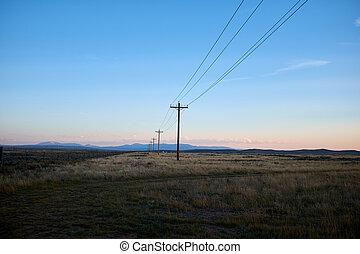 Line of electricity poles in a Colorado landscape
