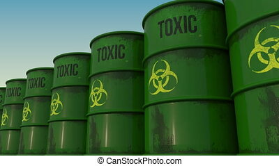 Line of green barrels with biohazard content. 4K seamless loopable animation, ProRes