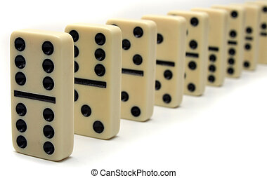 Line of Ivory Dominos - Close up of chain of Ivory Domino...