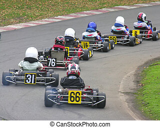A line of go karts driving away from the camera