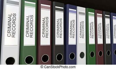 Line of multicolor office binders with Criminal records...