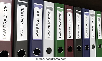 Line of multicolor office binders with Law practice tags 3D...