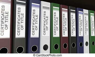 Line of multicolor office binders with Certicicates of title...