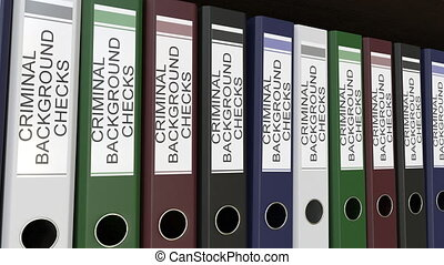 Line of multicolor office binders with Law suits tags. 4K...