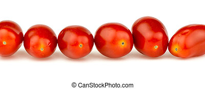 Line of natural organic red cherry grape tomatoes isolated on wh